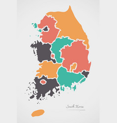 South korea map with states and modern round vector