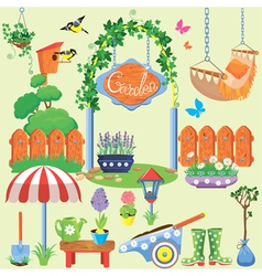 Spring and summer village and garden set with flow vector