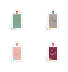 Stylish concept paper sticker candle wedding rings vector
