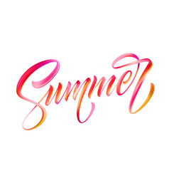Summer calligraphic lettering color brush oil or vector