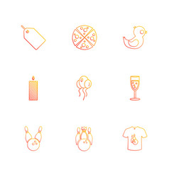 Tag pizza balloons candle glass party vector