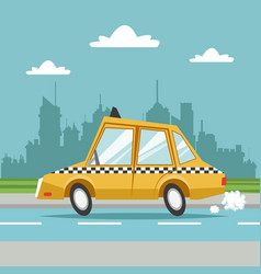 taxi cab car city background vector image