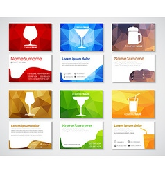 Template polygonal cards with glasses for drinks vector image vector image