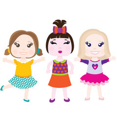 Three little smiling girls vector