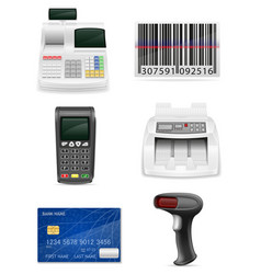 trading banking equipment for a shop set icons vector image vector image