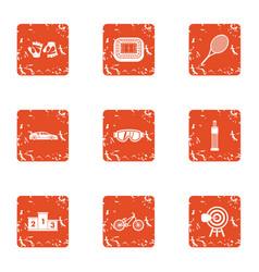 Training morning icons set grunge style vector