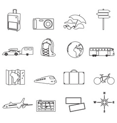 Travelling ana vacation transportation outline vector