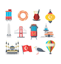 turkey landmarks travellers set istanbul vector image