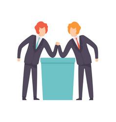 two businessmen arm wrestling business vector image