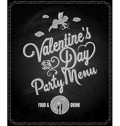 Valentines day chalkboard menu background vector