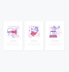 virtual reality concept - line design style vector image