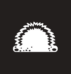 White icon on black background grass and vector