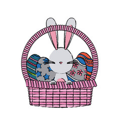 Wicker basket with easter eggs and bunny vector