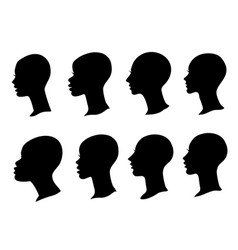 woman profile black silhouette with bald head set vector image