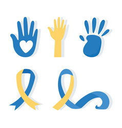 World down syndrome day hands print paint and vector