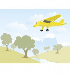 airplane over mountains vector image vector image