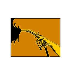 Hand Holding Gas Fuel Pump Nozzle vector image vector image