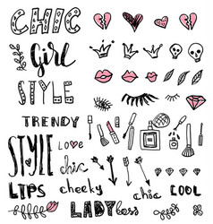 a set of grunge hand draw doodles and words about vector image vector image