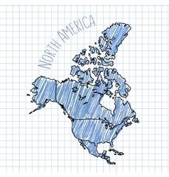 Blue pen hand drawn North America map on vector image vector image