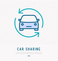 car in arrows thin line icon vector image