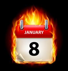 Eighth january in calendar burning icon on black vector