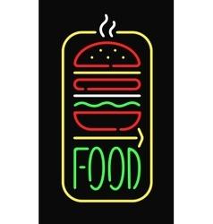 Fast food neon sign light restaurant cafe black vector image vector image