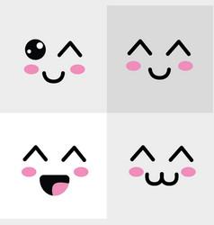 Kawaii happys face icon vector