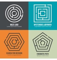 Labyrinth maze shape logo design set vector image