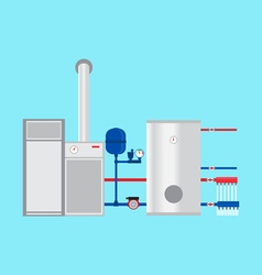 Pyrolysis boiler in the cottage vector image