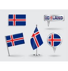 Set of Icelandic pin icon and map pointer flags vector image vector image