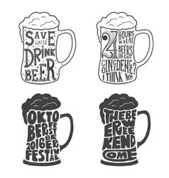 Vintage calligraphic grunge beer design vector image