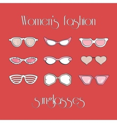 Womens fashion isolated sunglasses set vector