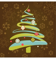 Christmas background with xmas tree vector