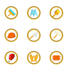 construction tools icons set cartoon style vector image