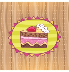 Happy Birthday card with strawberry cake vector image vector image