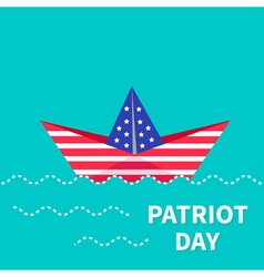 Patriot Day background Paper boat Dash line Flat vector image vector image
