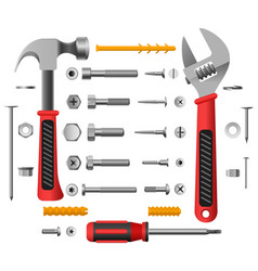 screws nuts and tools vector image
