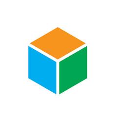 abstract hexagon box logo vector image