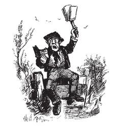 man reading book aloud vintage engraving vector image
