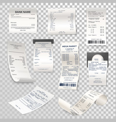 realistic paper checks or payment bill on vector image