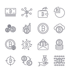 set of line stroke bitcoin and vector image