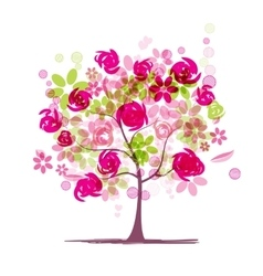 Spring tree with roses for your design vector image vector image