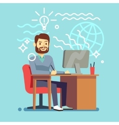 Young designer man working at computer vector image vector image