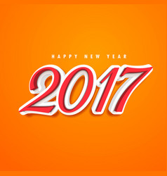 2017 text design in 3d style on orange background vector image