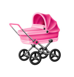 3d bastrolle pink baby carriage pram vector