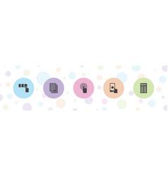 5 press icons vector