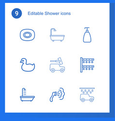 9 shower icons vector