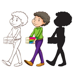 A sketch of a teacher in three colours vector image