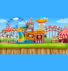 Amusement park scene in park vector