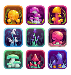 app icons with fantasy cartoon colorful shiny vector image